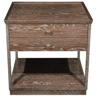 Paul Marra Ceruse Oak Two-Tier Nightstands