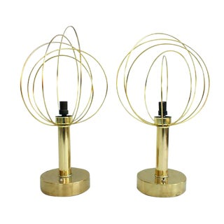 Atomic Mod Brass Table Lamps - A Pair