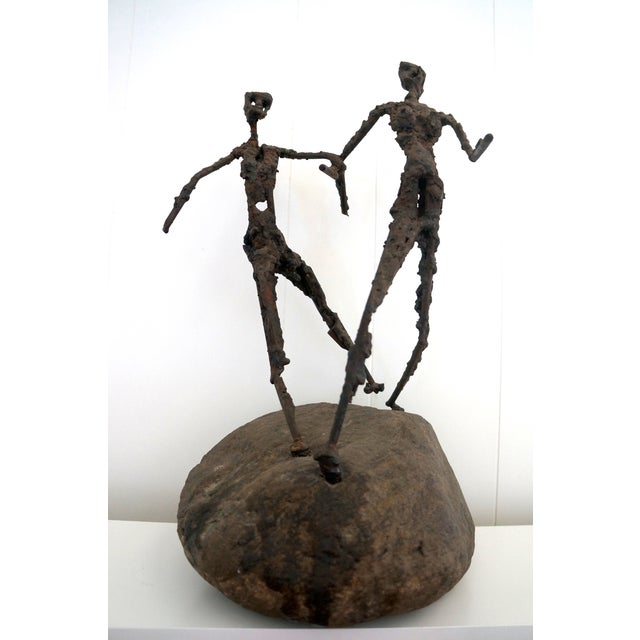 Brutalist Giacometti Metal And Stone Sculpture - Image 2 of 5