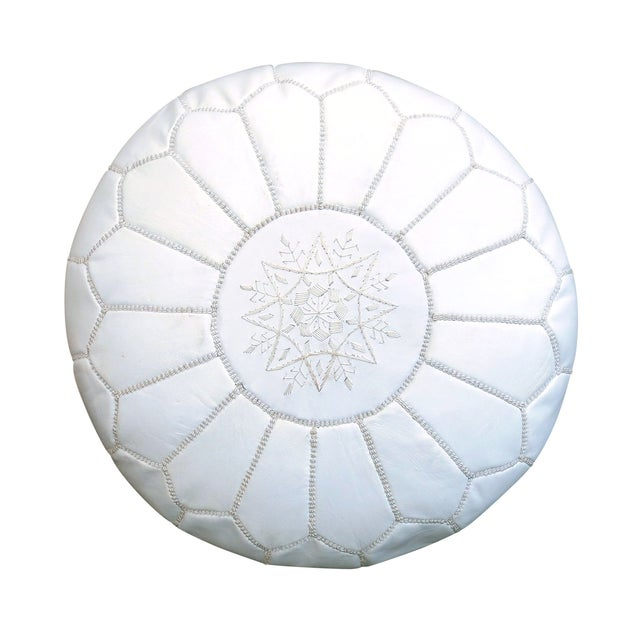 Image of Handmade Moroccan White Leather Pouf