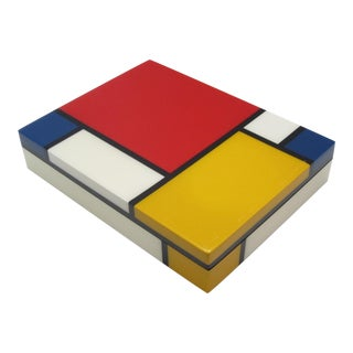 Lacquered Mondrian Lidded Box