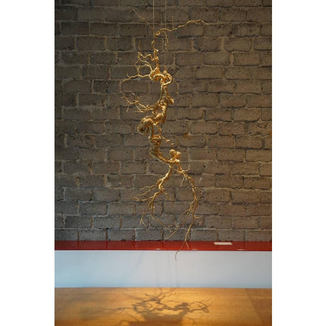 Untitled Twisted Brass Lit Sculpture - Image 4 of 7