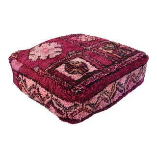 Custom Tailored Moroccan Boujad & Kilim Rug Floor Pouf Ottoman