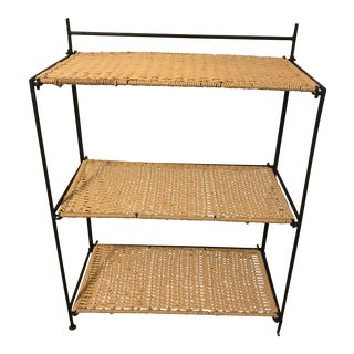 Vintage Mid-Century Modern Iron and Rope Shelf