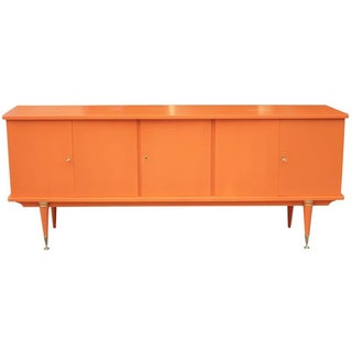 French Mid-Century Orange Lacquered Buffet