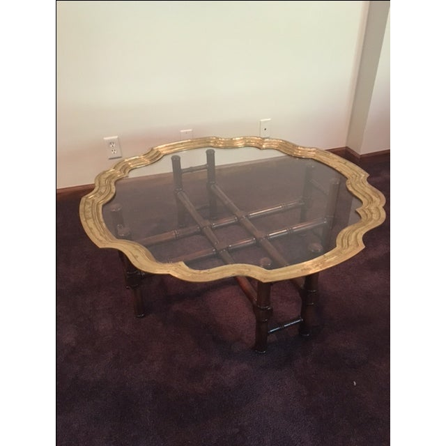Image of Vintage Baker Furniture Brass & Glass Coffee Table