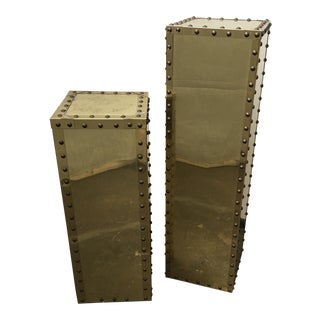 Sarried Style Studded Brass Columns/Pedestals - A Pair