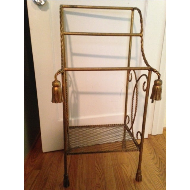 Vintage Italian Gold Leaf Towel Stand - Image 2 of 4