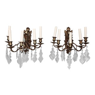 Pair of French 5 Light Bronze and Crystal Wall Sconces