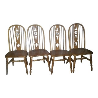 Windsor Oak Dining Room Kitchen Chairs Wagon Wheel Brace Backs - Set 4