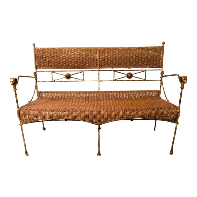 Neo-Classical Style Wicker Settee - Image 1 of 4