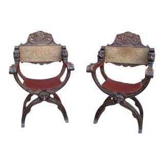 Italian Antique Savonarola Chairs - A Pair