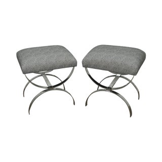 Mid-Century Chrome X-Base Ottomans - A Pair