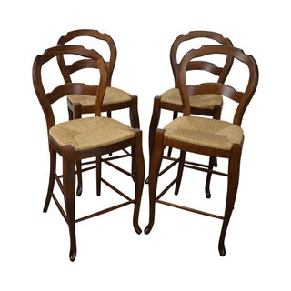 French Country Rush Seat Counter Stools - Set of 4