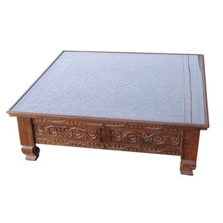 Lotus Carved Glass Top Coffee Table
