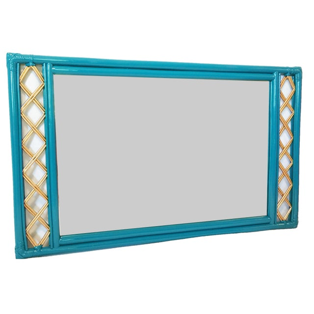 Vintage Ficks Reed Rattan Mirror - Image 4 of 7