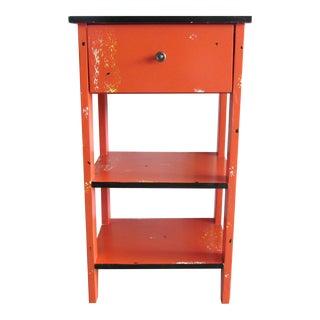 Orange Artsy Single Drawer Accent Table