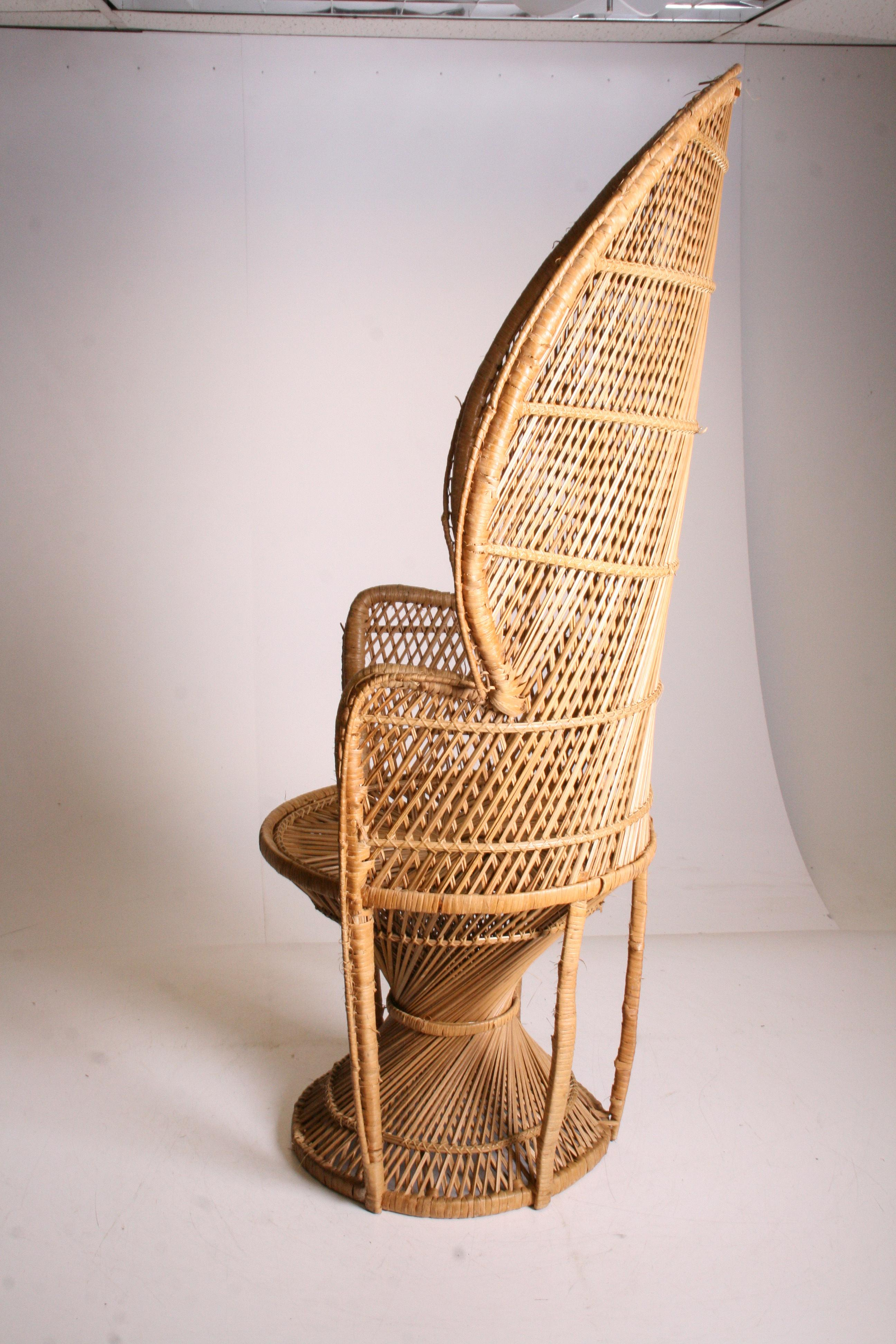 Vintage Boho Chic Wicker Peacock Chair   Image 5 Of 11