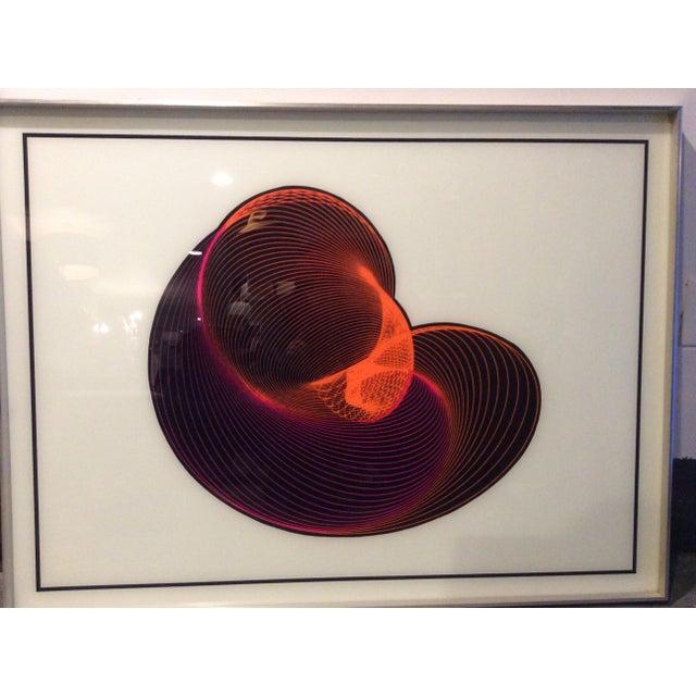 Mid-Century Modern Op Art Spirograph Painting - Image 8 of 10