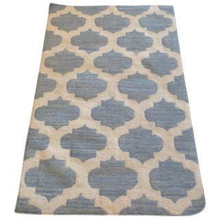 Light Blue Reversible Trellis Kilim - 3′1″ × 4′11″