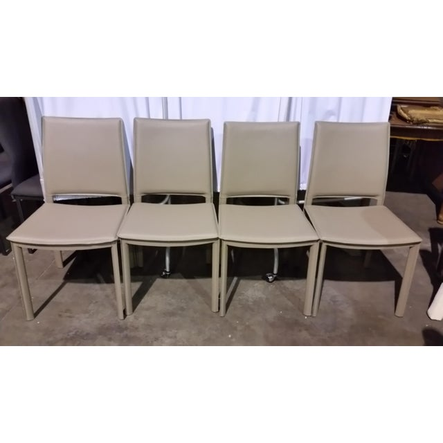 Image of Gray Faux Leather Side Chairs - Set of 4