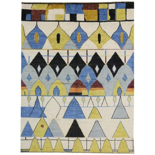 Contemporary Moroccan Style Rug with Modern Geometric Design