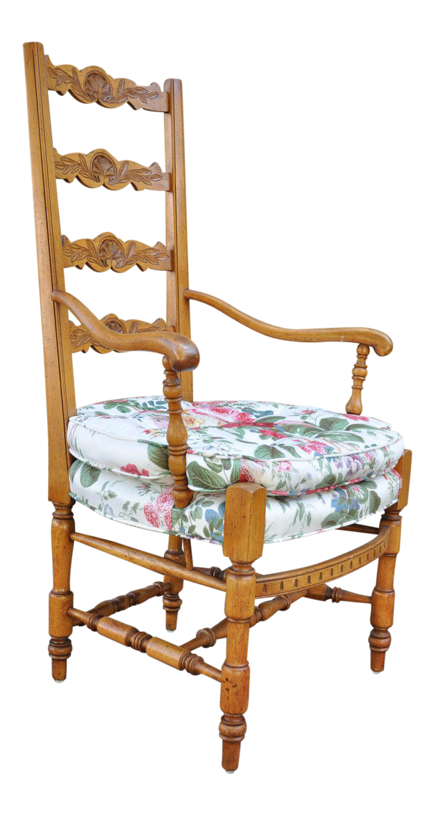 vintage french country carved u0026 distress finished ladder back arm chair