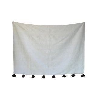 Moroccan White & Brown Pom Pom Blanket