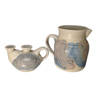 Vintage Handmade Pottery Vessels - A Pair