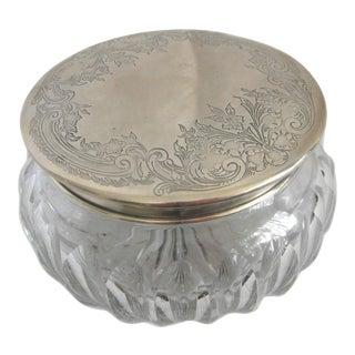 Crystal Floral Sterling Silver Lid Vanity Jar