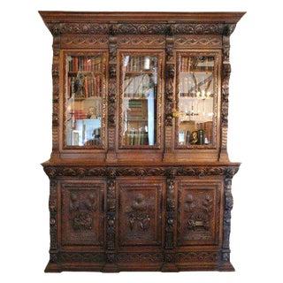Large Carved Oak Six Door Bookcase