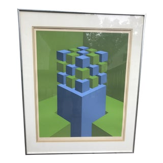 "Marko Spalatin 1971 Serigraph ""Cubes Devoted"" Signed and Numbered"