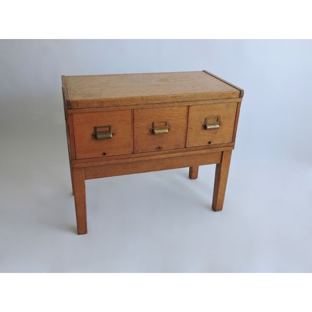 Tiger Oak Filing Cabinet Library Table Circa 1919 - Image 4 of 5