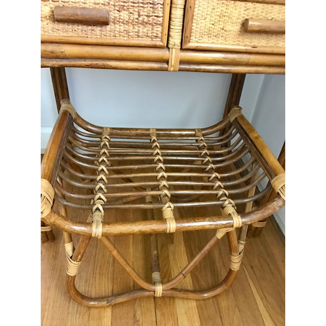 Image of Vintage Bamboo & Rattan Two-Piece Vanity Set W/ Mirror & Stool