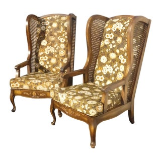 Midcentury Cane Wing Back Floral Arm Chairs - Pair