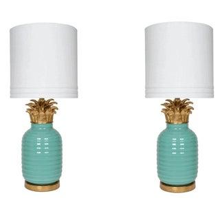 Hollywood Regency Style Pineapple Lamps - Pair