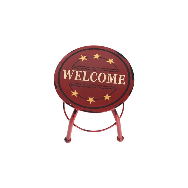 Round Antique Welcome Metal Stool - Image 1 of 3