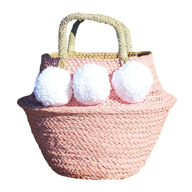 Image of Pink Belly Basket & Pom-Poms