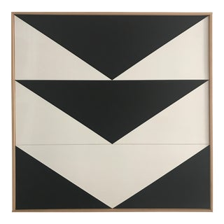 "Jason Trotter Original Acrylic Painting ""Black Arrow Down Triptych JET0492"""