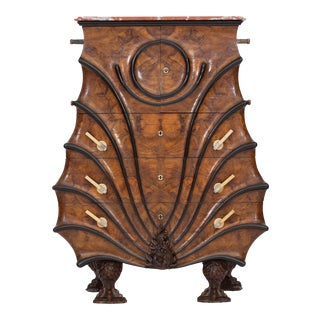 Unusual Walnut And Ebonised Cabinet Chest, In The Late Empire Taste