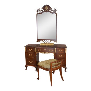 Vintage Thomasville Regency Style Mahogany Carved Vanity, Mirror & Bench - Set of 3