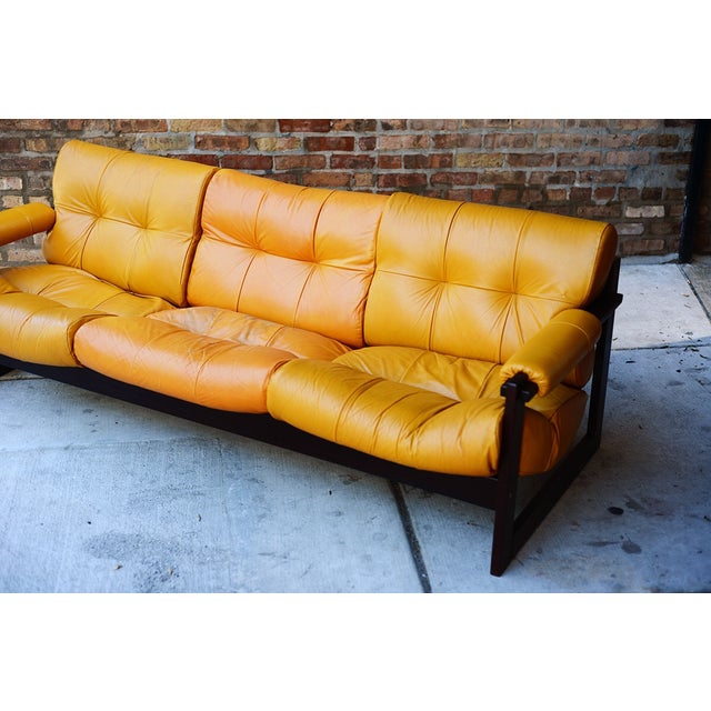 Percival Lafer Rosewood And Distressed Tufted Yellow: Percival Lafer Brazilian Mid-Century Leather Sofa