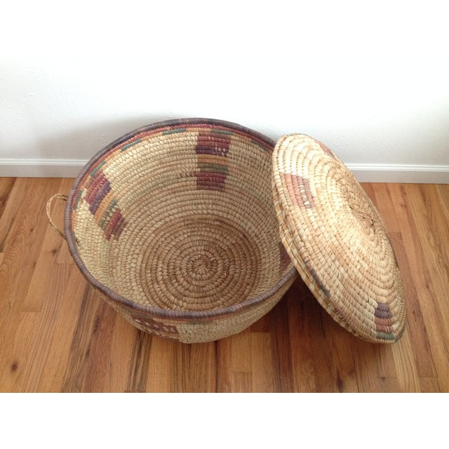 Large Hand Woven African Basket - Image 4 of 7