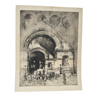 """Sir William Walcot (1874-1943) """"Court of Justice"""" Etching c.1913"""