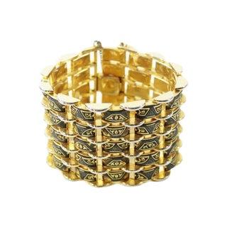 Damascene Wide Gold Tone Link Vintage Bracelet