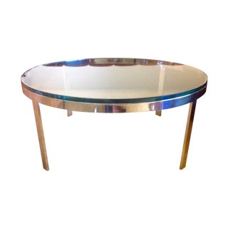 Milo Baughman Dia Nickel And Glass Table
