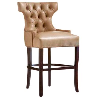 O. Henry House Tufted Leather Barstool