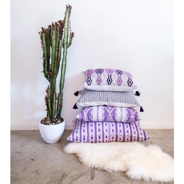 Handwoven Purple & Grey Guatemalan Pillow - Image 6 of 7