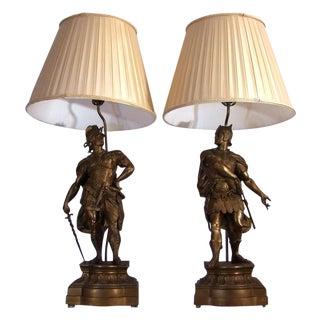 Antique Arthur Waagen Sculpture Lamps - A Pair