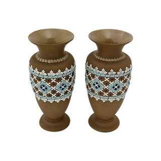 Antique Doulton Lambeth Vases - A Pair
